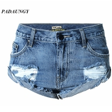 PADAUNGY Steampunk Shorts Denim Hotpants Torn Ripped Jeans For Women Plus Size Short Pants Jean Femme Hole Jardineira Feminina