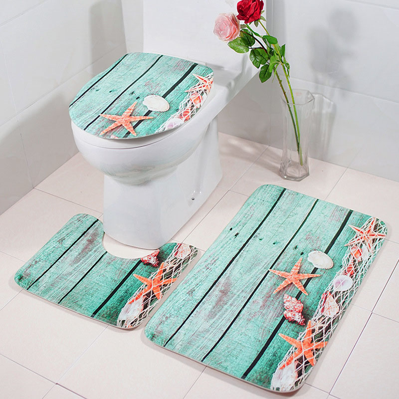 Bathroom Set Beach Pattern Anti Slip Rug Soft Foam Toilet Bath Rug Sets E2S ...