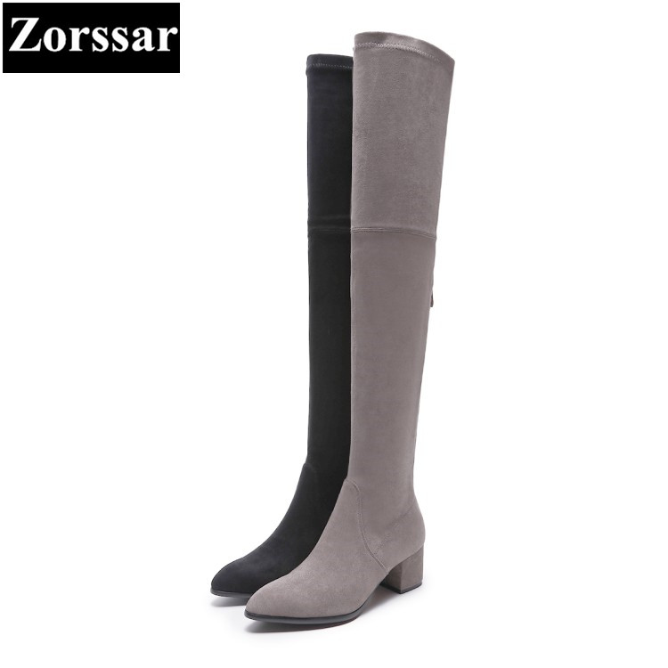 {Zorssar} 2018 NEW Fashion Suede Boots Women High heels over-knee boots pointed toe womens snow Boots autumn winter women shoes women shoes winter boots over the knee boots pointed toe high heeled comfortable autumn shoes fashion slim boots new bdt1049