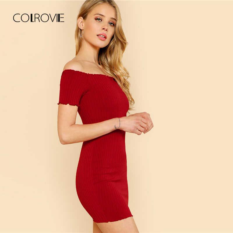 eb647ecbba39 ... COLROVIE Lettuce Edge Detail Ribbed Bardot Dress 2018 Summer Red Short  Sleeve Short Female Dress Off ...