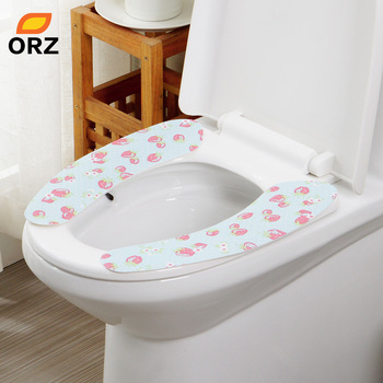ORZ 4PCS Set Soft And Comfortable Non Woven Fabrics Washable Self Adhesive Toilet