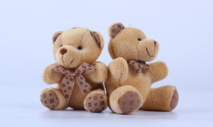 Teddy Bear Stuffed Toys Plush Toy Key Chain Dolls Cloth Dolls Wedding Celebration Street Vendors 10 Cm High