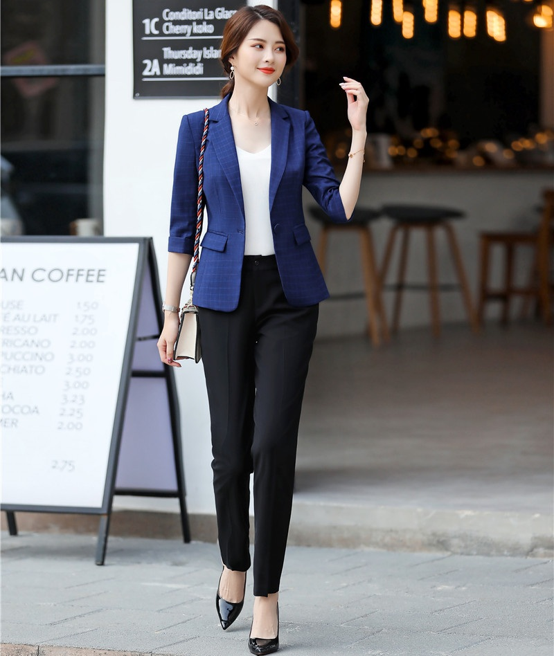 Pant Suits New 2019 Spring Summer Formal Ladies Blue Blazer Women Business Suits With Pant And Jacket Sets Work Wear Office Uniform Styles With A Long Standing Reputation