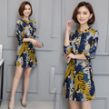 2017 New Plus Size Women Mini Dresses Button Spring Woman Abstract Pattern Printed Large Size Dress L XL XXL XXXL 4XL 5XL 6Sizes