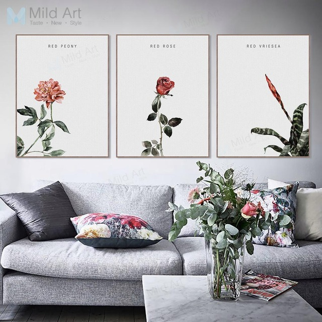 Minimalist Red Rose Flower Green Plants Posters and Prints Nordic Style Living Room Wall Art Pictures & Minimalist Red Rose Flower Green Plants Posters and Prints Nordic ...