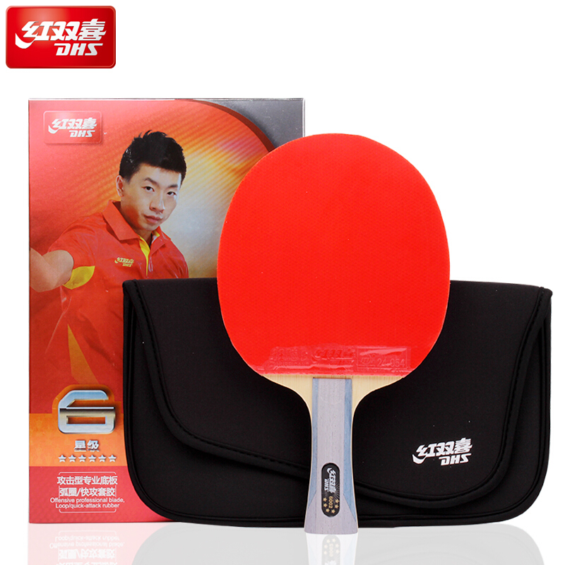 DHS Original 6-Star Table Tennis Racket (6002, 6006) With Rubber (Hurricane 8, Tinarc) + Bag Set Ping Pong Bat Tenis De Mesa