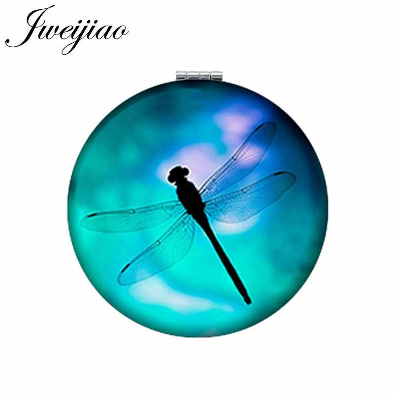 JWEIJIAO Dragonfly Art Picture Round Makeup Mirror PU Leather Mini Folding Compact Portable 1X/2X Magnifying Pocket Mirror