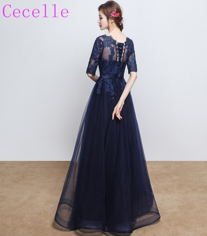 c2386d6655 Cheap Long Navy Blue Bridesmaids Dresses With Half Sleeves Lace Tulle Ready  to Ship In stock Wedding Party Dress Low price ~ Free Shipping July 2019