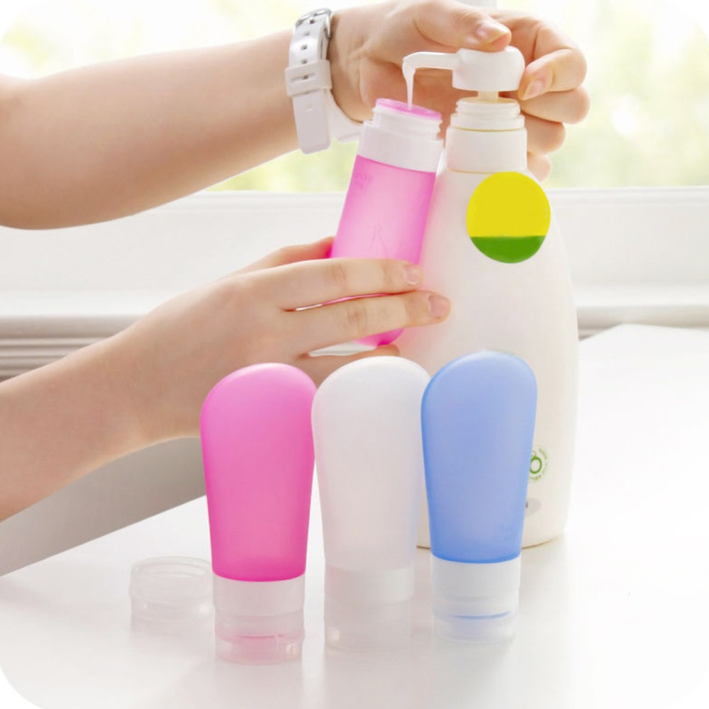 3Pcs Travel Refillable Bottles Set Silicone Skin Care Shower Gel Lotion Squeeze Bottle Shampoo 37/60/89ml Tube Containers