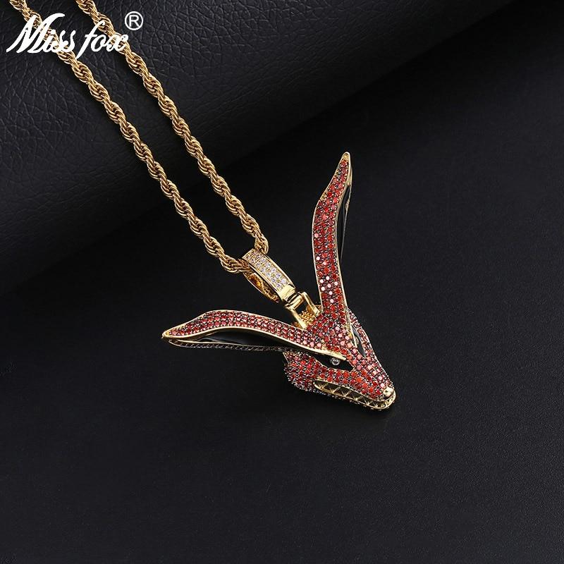 Missfox Anime Naruto Nine tailed Fox Avatar Personality Gemstone Pendant Necklace Golden Fashion Fascinating Style Trendy Jewels
