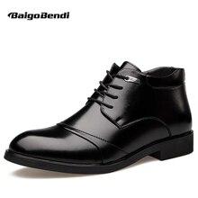Us 6-12 Мужские Черные Пояса из натуральной кожи Кружево до Мех внутри на Ботильоны зима теплая Оксфорд Модельные туфли