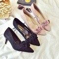 Escoge los zapatos de las mujeres 2017 Nueva Moda de Primavera Sexy Zapatos de Gamuza Con Flores Del Todo-Fósforo Dulce Zapatos de Tacones Altos bombas
