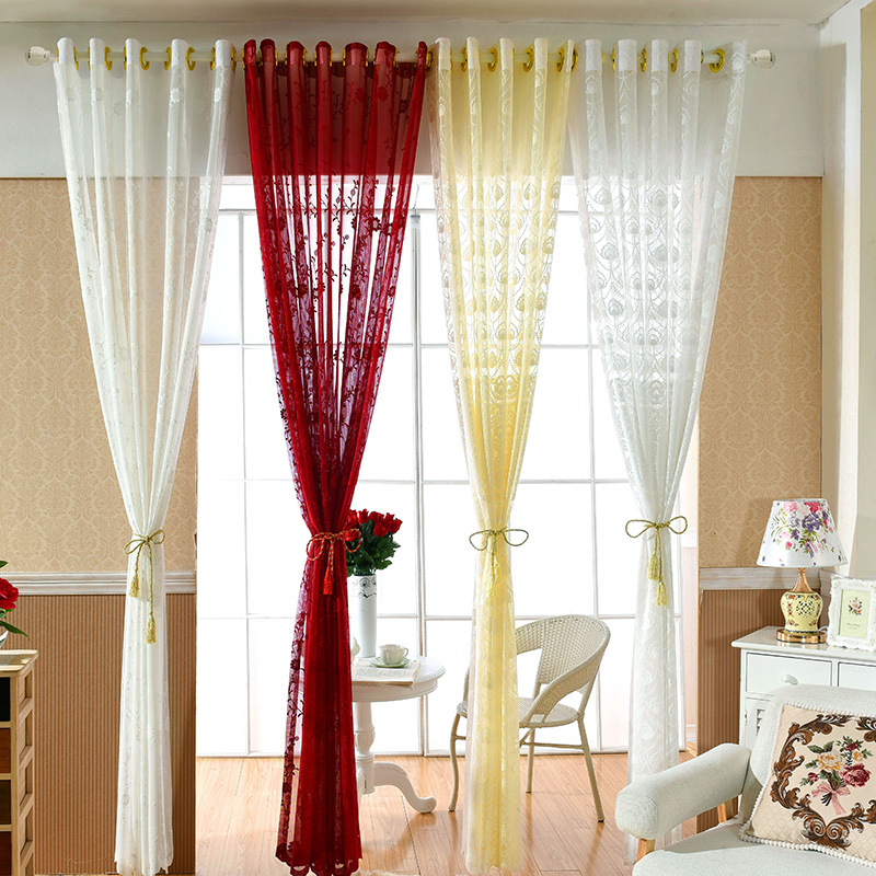 Superb Us 18 19 30 Off Wliarleo Sheer Tulle Curtains Red Floral Voile Curtain For Wedding Translucidus Window Curtains For Bedroom Living Room Decor In Download Free Architecture Designs Scobabritishbridgeorg