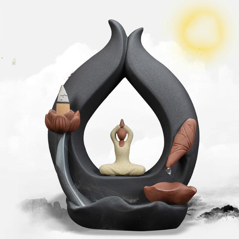 F New Creative Drop Burner Somking Backflow Incense Burner Yoga Home Furnishing Decor Ceramic Handmade Crafts Office Ornaments
