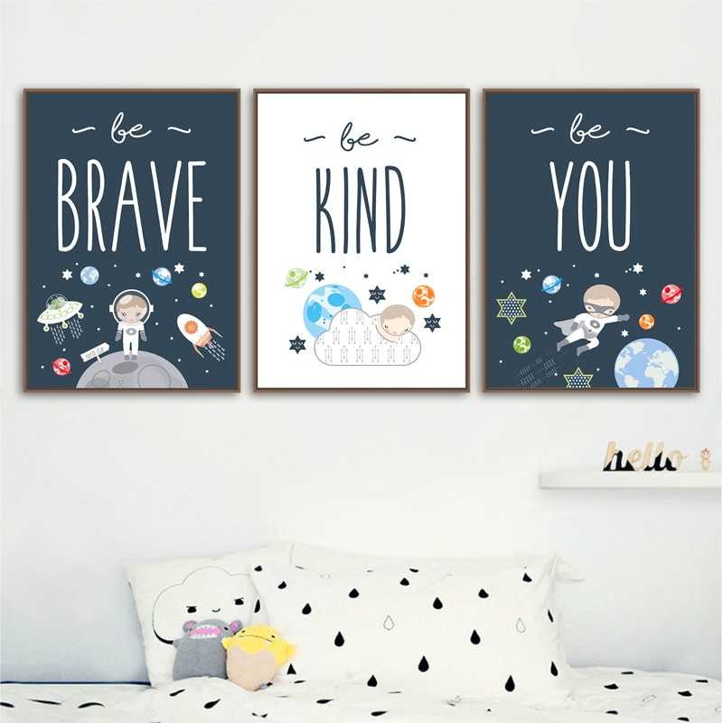 พื้นที่ Nursery Wall Art พิมพ์ Be Brave & Be Kind คำคมโปสเตอร์ผ้าใบภาพวาดเด็กของขวัญเด็กผนังตกแต่ง