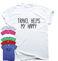 Travel Helps My Happy funny T shirt humour mens gift womens sarcastic slogan top2019 fashionable Brand 100%cotton Printed Round