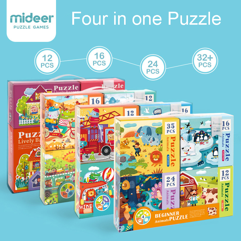 MiDeer Four in One Theme Paper Large Puzzle For Kids House Season Traffic Animals Puzzle Educational Toys For Children Gifts