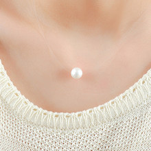 temperament Clavicle chain Invisible Fishing line Single pearl choker necklace women,Punk glass Pearl Pendant necklace jewelry(China)