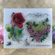Rose and Flower Love Heart Frame Scrapbook DIY photo cards account rubber stamp clear stamp transparent stamp  14*18 CM