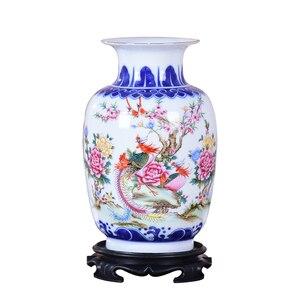 Image 1 - Сине белая керамическая ваза, фазан, фарфоровый цветок, старинная китайская фигурка, ваза с узором истории, ручная работа, цзиндэчжэнь, цветочные вазы