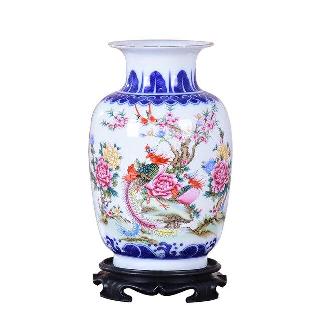 Blue and White Ceramic Vase Pheonix Porcelain Flower Ancient Chinese Figure Story Pattern Vase Handmade Jingdezhen Flower Vases