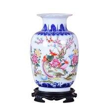 สีฟ้าและแจกันเซรามิคสีขาว Phoenix ดอกไม้ Porcelain จีนโบราณรูปรูปแบบแจกันทำด้วยมือ Jingdezhen แจกันดอกไม้