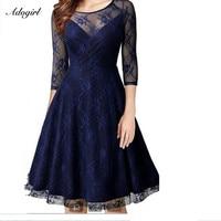Adogirl Sexy Sheer Lace Splice Deep V Neck Mesh Dress 3 4 Sleeve A Line Knee