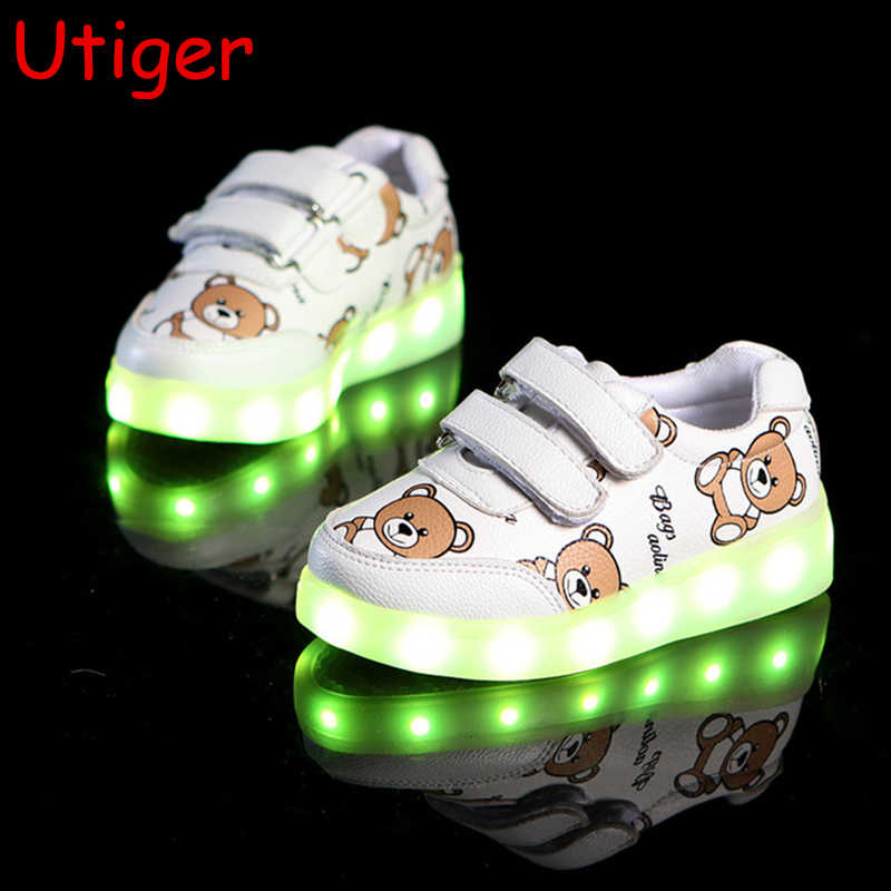 Children Boy Girl Lights Led Glowing Shoes Kids Baby Girl Luminous bear sneakers usb charging sport Boy Sneaker  EU 22-30