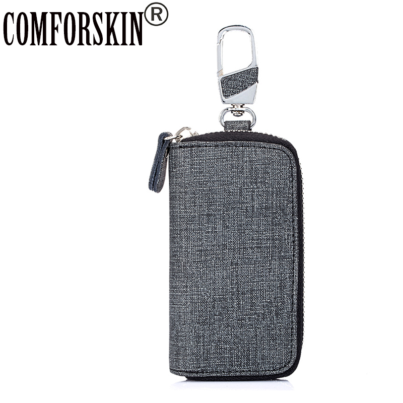 COMFORSKIN Brand New Arrivals Key Holder Unisex Universal Car Wallets Zippers Split Leather 2017 Best Housekeepers Bags