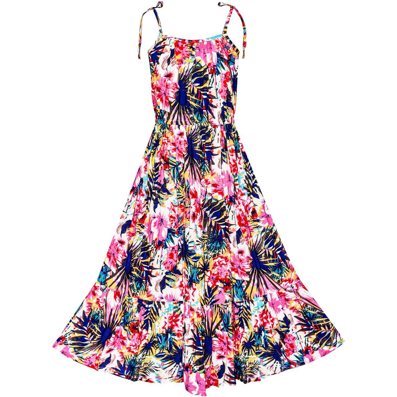 Sunny Fashion Flower Girl Dress Tropical Leaf Skater Ruffle Sundress Cotton 2017 Summer Princess Wedding Party Size 7-14 tropical flower женские заколки цветы