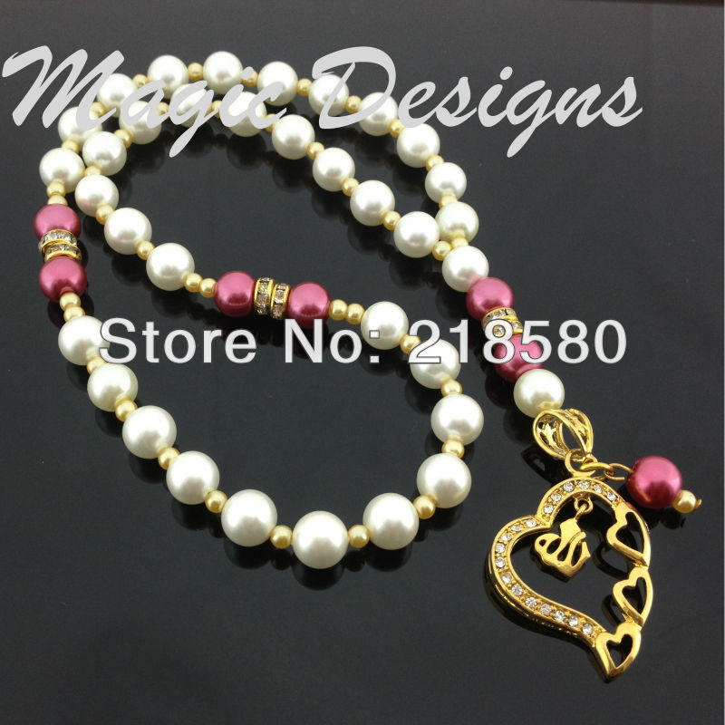 H-IPB01 5pcs/lot Pearl Beads Gold Electroplated Allah Pendant Islamic Muslim Prayer Beads 33beads Tabih