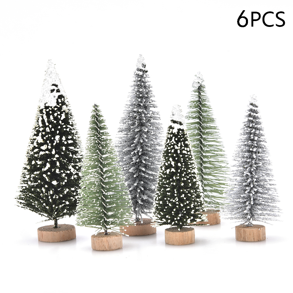 1/5/6 Pcs Miniature Christmas Tree Small Artificial Sisal Snow Landscape Architecture Trees for Christmas Crafts Tabletop Decor
