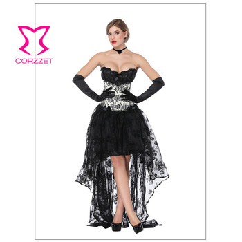 Corzzet Gothic Black Floral Splice Lace Overbust Corset And Skirts Sexy Bustiers Burlesque Women Costume Steampunk Dress