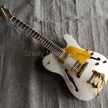 Shelly, магазин, заводская, на заказ, серебристая, блестящая, металлическая, TL гитара, f отверстие, белая, связывающая, золотая, накладка, bigspy, электрогитара