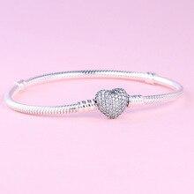 897f38462b87 100% 925 Sterling Silber Klassische Glitter Herz Förmigen Schlange Knochen  Pandora Armband Rose Gold Mode Original Hochzeit Groß.