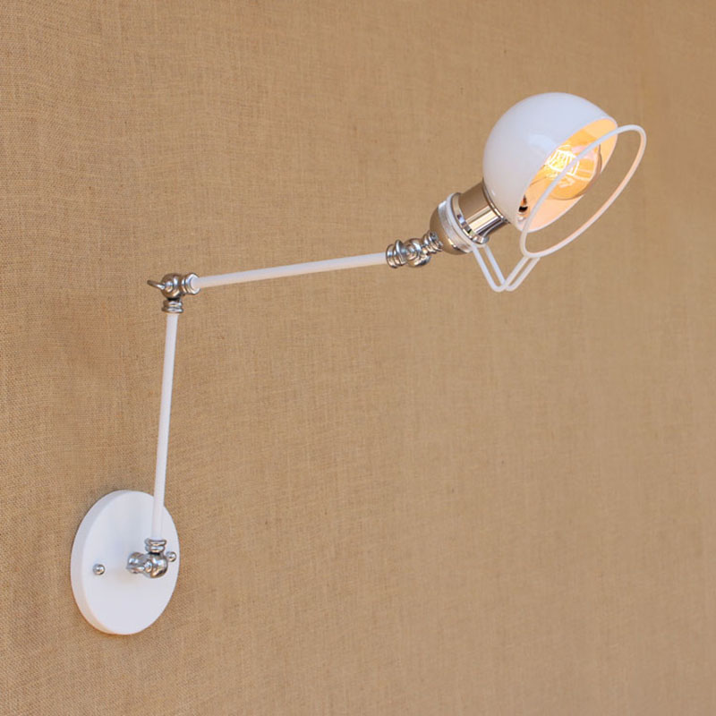 Industrial Metal white mechanical swing arm adjustable modern wall lamp e27  lighting for Bedroom study hallway Workroom Loft a01069790fa