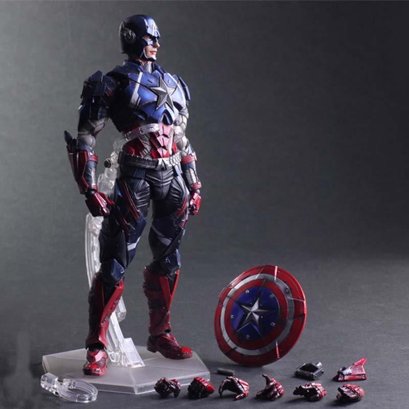 27cm Marvel Super Heros High Quality The Captain America Play Arts Robot Action Figures Doll For Kids Gifts captain america 12in 1pcs set pvc figures the avenger marvel captain america action anime figures kids gifts toys