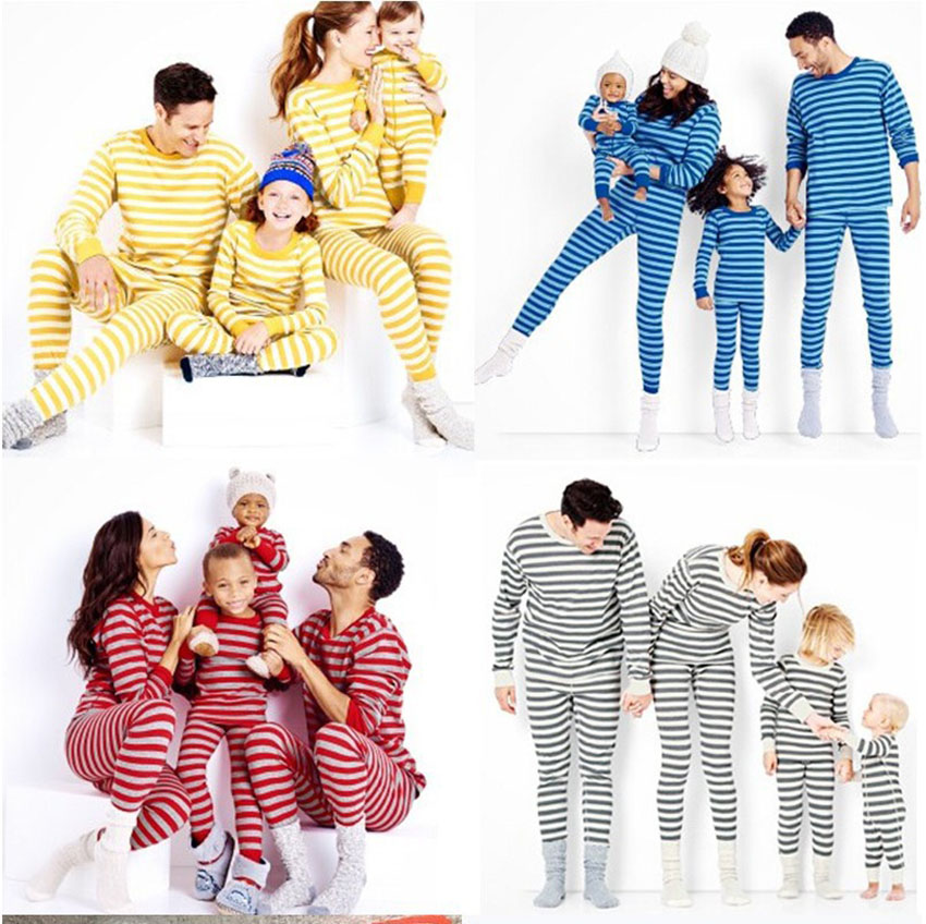 Family Matching Clothes Newborn Baby Mother and Daughter Stripe Rompers Father and Son Homewear Warm Christmas Pajams Outfits