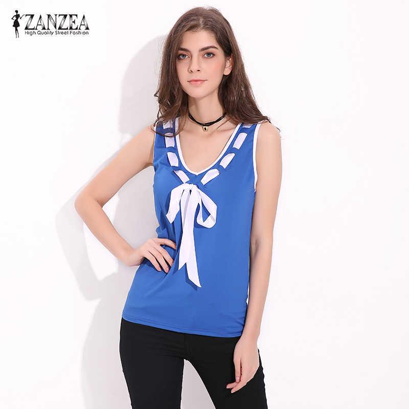 Лето ZANZEA 2019 футболки для женщин блузки для малышек рубашки домашние муж. без рукавов Лоскутная рубашка Slim Fit Лук Blusas Femininos, большие размеры жилет