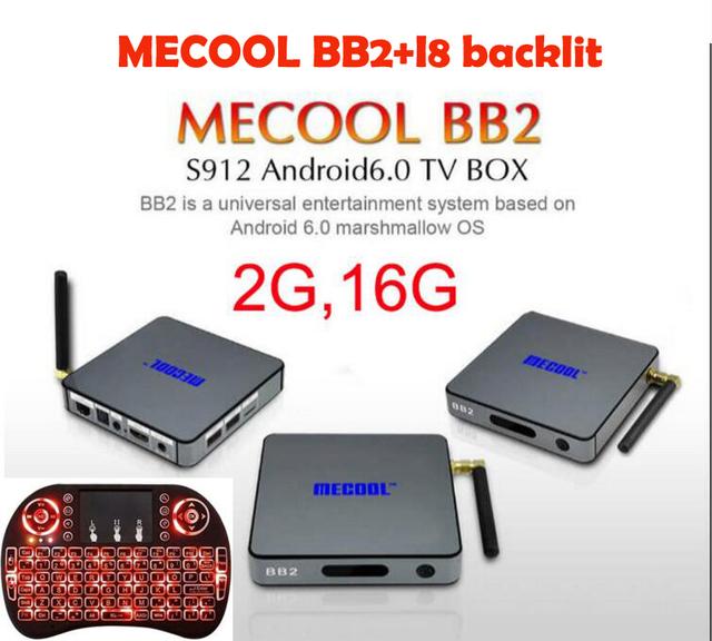 MECOOL BB2 Amlogic S912 Cortex-A53 Octa núcleo ARM de 64 bits 2G/16G Android 6.0 TV Box WiFi bt4.0 2.4G/5.8G H.265 4 K jugador