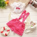 Fashion Kids Clothes Baby Girls Clothing Sets Toddler Kids Girls Clothes Set T shirt + Dot pant Overalls Set