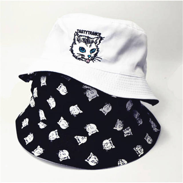 b212d6ae289 Ldslyjr two sided cat print bucket hat fisherman hat outdoor travel hat sun  cap hats for