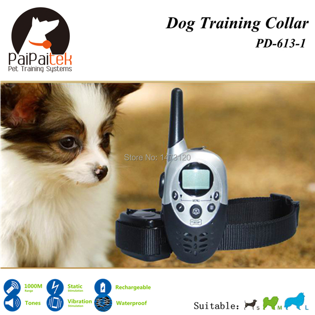 Hot Sell 1000M Range Remote Manual Control Rechargeable Electric Dog Training Collar Shock+Vibra+LCD Display Bark Control Remote
