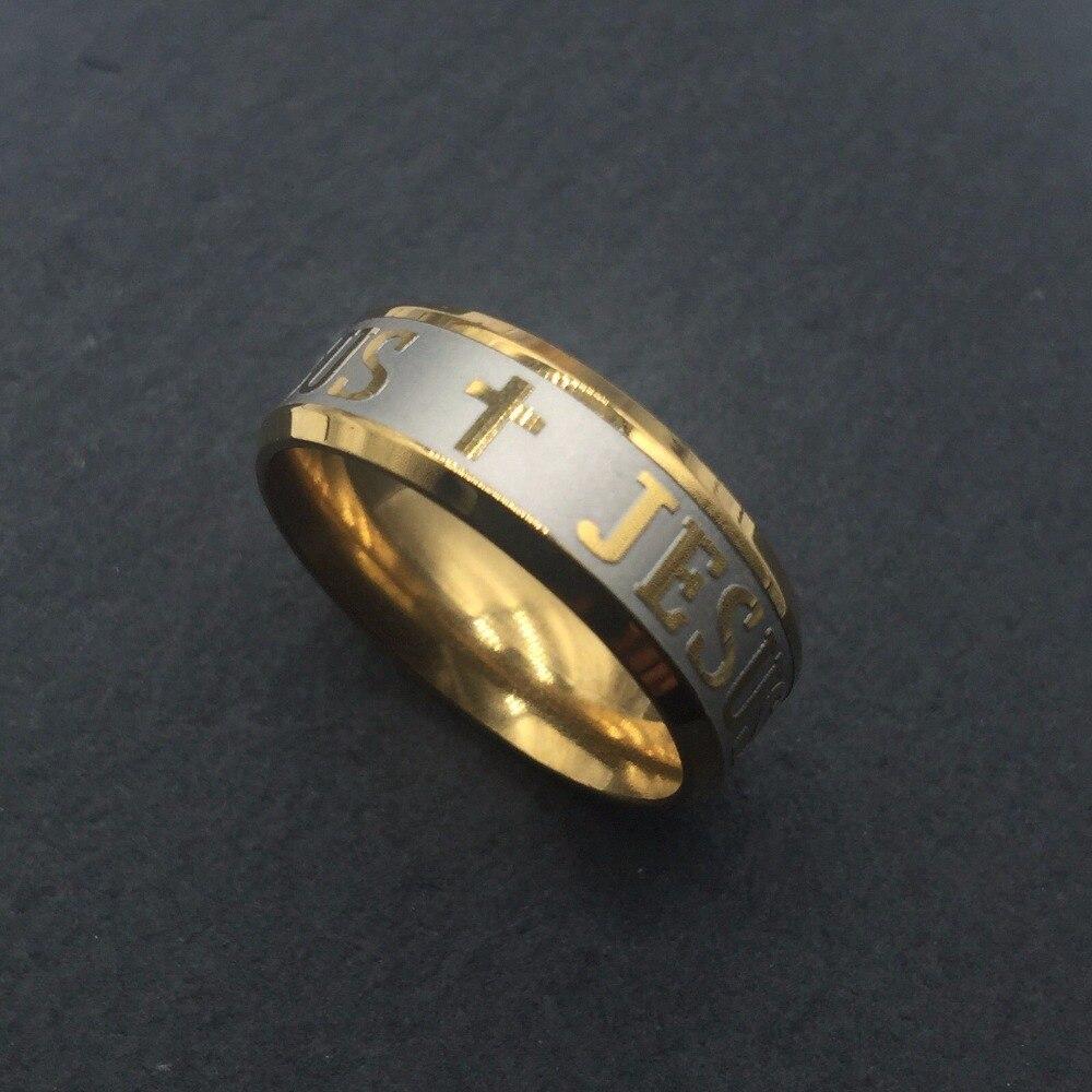 Never fade 8mm 18KF Gold filled 316L stainless steel Mens women Jesus cross engraved lor ...