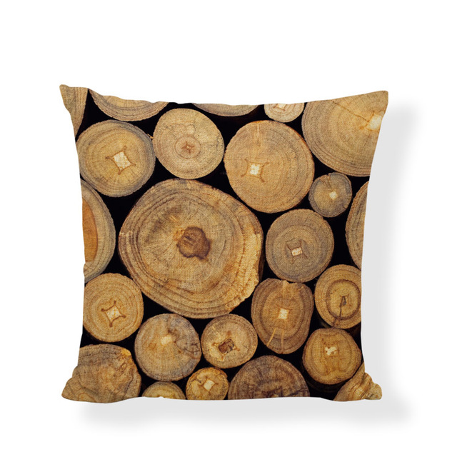 New Design Tree Growing Ring Cushion Covers Natural Wood Print Decor ...