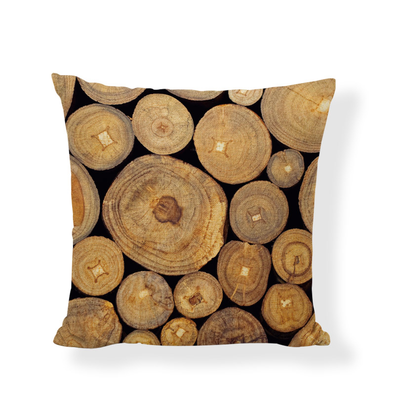 New Design Tree Growing Ring Cushion Covers Natural Wood Print Decor Camping Living Room Recliner Sofa Seat Garden Pillow Cases