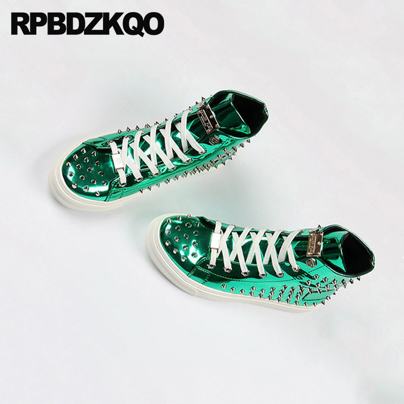 Rivet Men Shoes Italy Brand Skate Hip Hop Sneakers Elevator Stud Trainers Dandelion High Top Green Spike Lace Up Creepers Runway 6