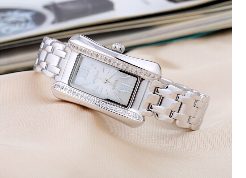 Fashion MELISSA Women Vintage Full Steel Watches Crystals Rectangle Dress Wristwatch Elegant Lady Quartz Analog Reloj