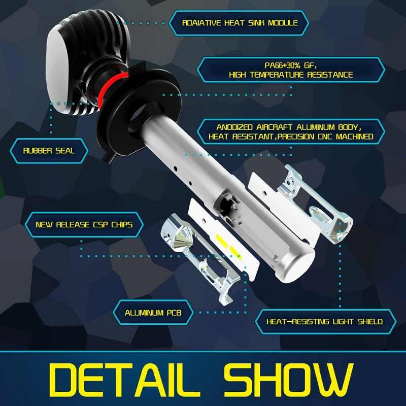PAMPSEE S1 Auto Led H7 Headlight H13 9005 HB3 9006 HB4 Led H4 Car Bulb 6500K CSP Chip 50W 8000lm Fan-less H8 Fog Lamp All-in-one