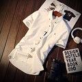 М-5XL 5 Цвета Твердые 2017 Новый Стиль Мужские Рубашки Одежда Мужская Социальной Случайный Короткий Рукав Рубашки Мужчин Бренд C161